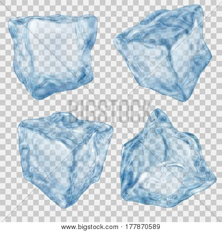 Set Of Transparent Light Blue Ice Cube
