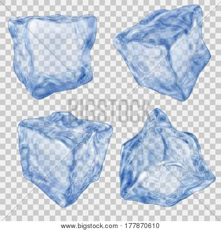 Set Of Transparent Blue Ice Cube