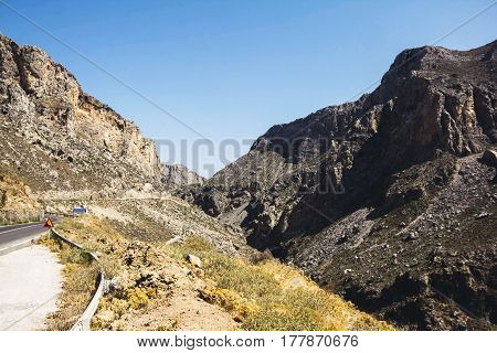 Mountains landscape road on the island of Crete Greece