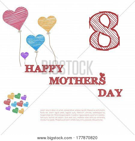 Fully vector Happy mother's day card with heart balloons in doodle design