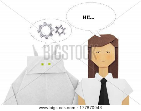 Paper origami white robot chatbot chat bot or chatterbot dialog with woman on a white background