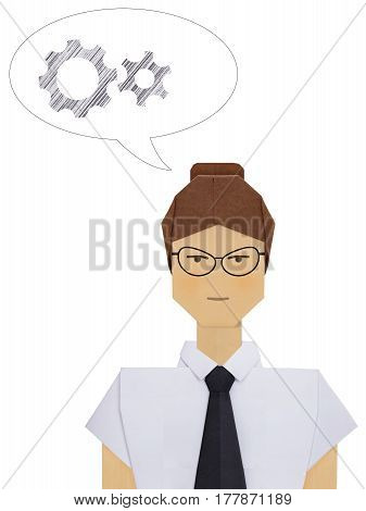 Origami paper teacher business woman consultant in white shirt with black tie on a white background