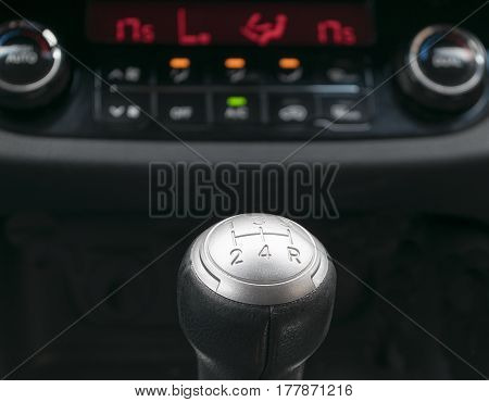 Abstract view of a gear lever, manual gearbox, car interior details