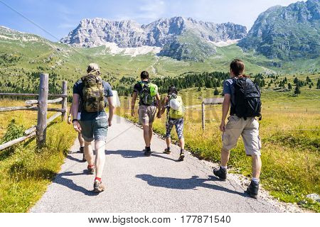 Group of young tourists on trip in Mountains, hikers walking in nature park, european summer landscape with athletes