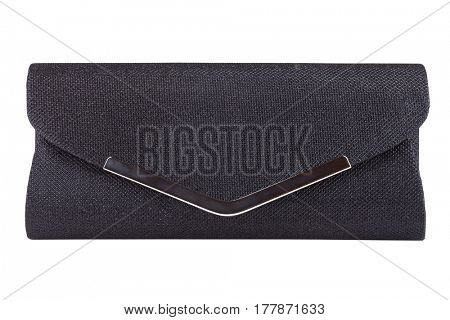 Black purse isolated on white with clipping path