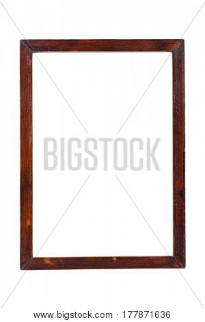 Wooden image frame isolated on white with clipping path