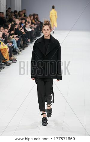 Kyiv, Ukraine - February 4, 2017: Models Walk The Runway During Fashion Show By Elena Burenina Autum