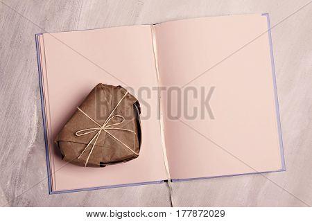Souvenir present heart box on sketchbook memories diary