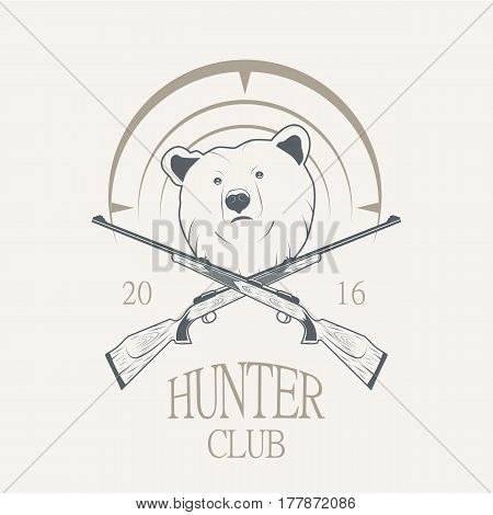 Vector illustration of a bear and a gun. Logo for the hunting and shooting club