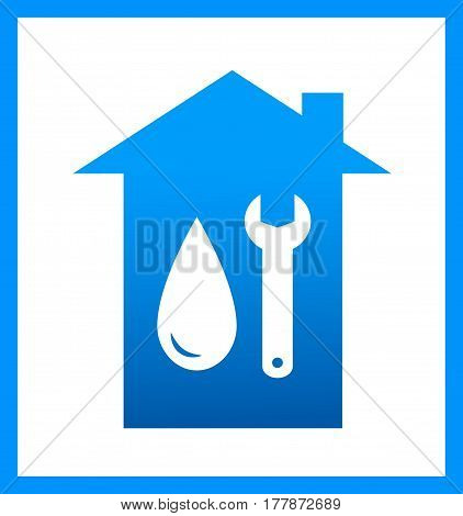 Plumbing Icon With Water Drop And Wrench