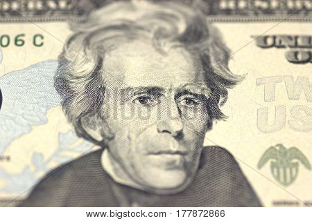 Andrew Jackson face on US twenty or 20 dollars bill macro, united states money closeup