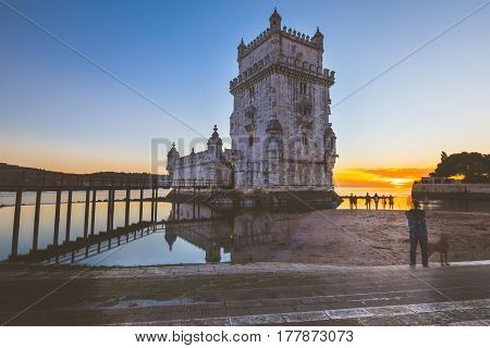 Belem Tower At Sunset In Lisbon