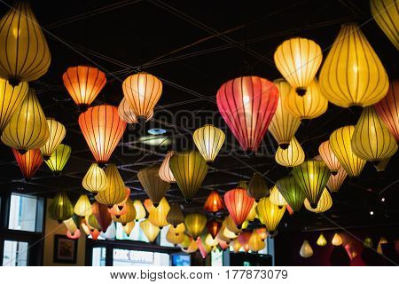 Chinese colored lanterns. Sources of light. Soft tube light