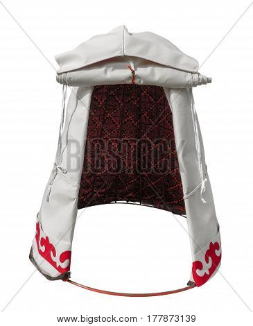 Kazakh mini yurt isolated on white with Clipping Path