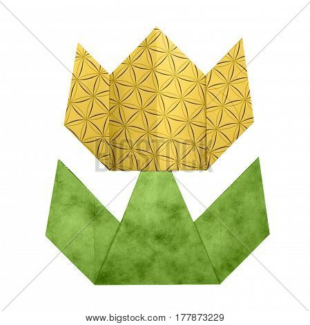Colorful origami yellowtulip paper craft on white background