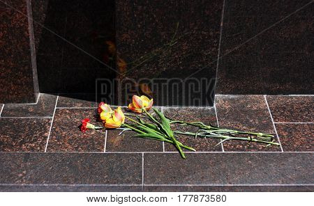 Red carnations.Flowers placed on the granite at the memorial.