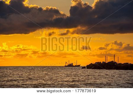 Seiner On A Black Sea, Beautiful Sunset, Poti, Georgia