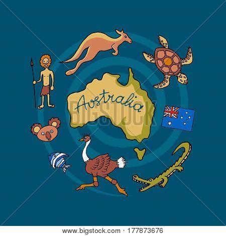 Australian doodle icon set, vector illustration of Australia animals