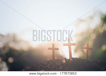 Three crosses. Easter and Christianity copyspace background.