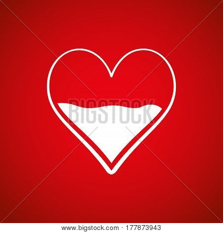 Heart Half Of Blood Vector Icon. Medicine Symbol. Valentine's Day Sign, Emblem Isolated On Red Backg