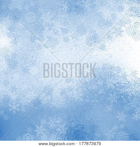 Christmas shiny background with snowflakes , blue and white