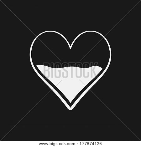 Heart Half Of Blood Vector Icon. Medicine Symbol. Valentine's Day Sign, Emblem Isolated On Black Bac