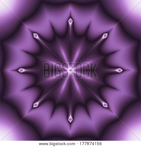 Purple 3d effect digital fractal image in eight pointed star shape in square format