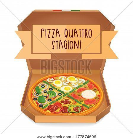 The real Pizza quattro stagioni. Italian pizza in box. Vector illustration.