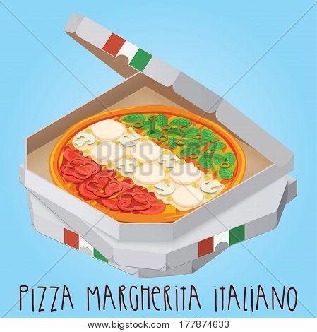 The real Pizza Pizza Margherita Italiano. Italian pizza in box. Vector illustration.
