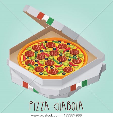 The real Pizza Diabola. Italian pizza in box. Diabolical. Diabo. Vector illustration