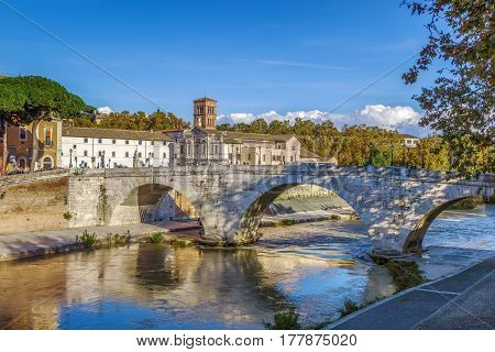 The Pons Cestius (Ponte Cestio Cestius Bridge) is a Roman stone bridge in Rome Italy spanning the Tiber to the west of the Tiber Island.