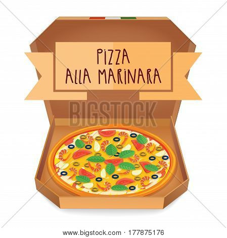 The real Pizza alla marinara. Italian pizza in box. Vector illustration.