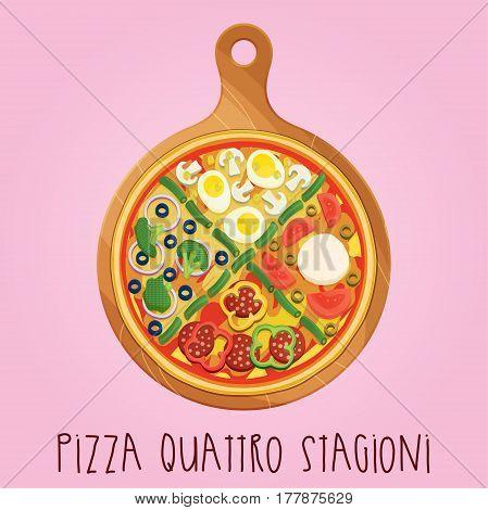 The real Pizza quattro stagioni. Italian pizza on wooden board. Vector illustration.
