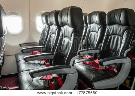 Airplane seats in the cabin