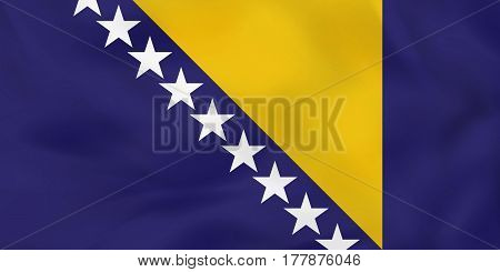 Bosnia And Herzegovina Waving Flag. Bosnia And Herzegovina National Flag Background Texture.