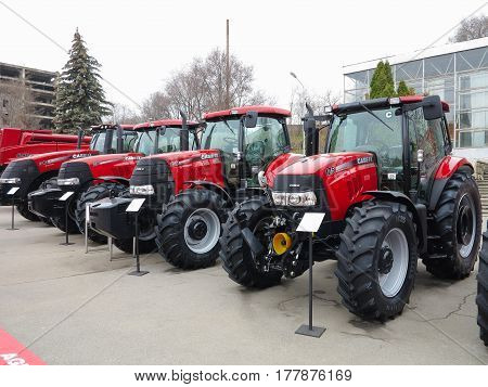 18.03.2017 Moldova Chisinev: New tractors for sale at a farmer's exhibition