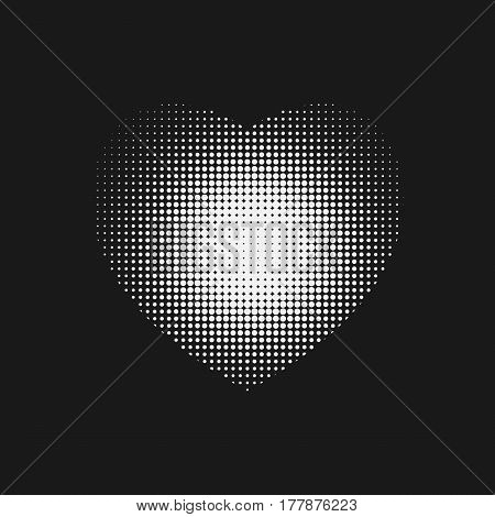Dotted White Heart Sign With Halftone On On Black Backround.