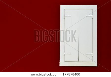 Antique  white protectors window on  reed wall background