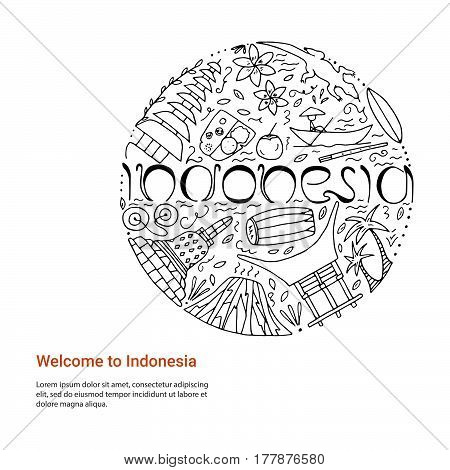 Hand Drawn Concept With Symbols Of Indonesia.