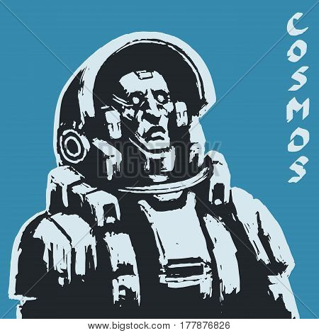 Astronaut sketch on black background. Cool science fiction spaceman cover. Serious character in space suit. Day of astronautics. Freehand digital drawing. Vector illustration.