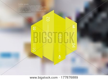Illustration infographic template with motif of hexagon vertically divided to four green shifted standalone sections. Blurred photo with financial motif with charts coins and calculator is used as background.