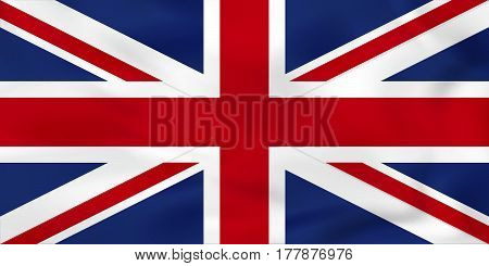 United Kingdom Waving Flag. Uk National Flag Background Texture.