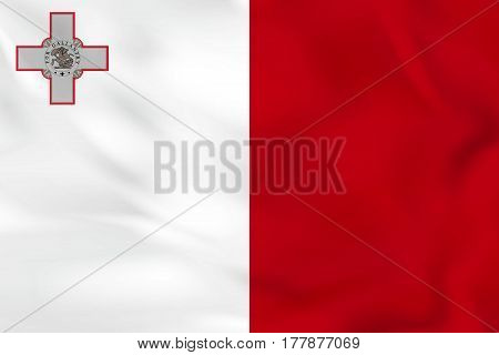Malta Waving Flag. Malta National Flag Background Texture.