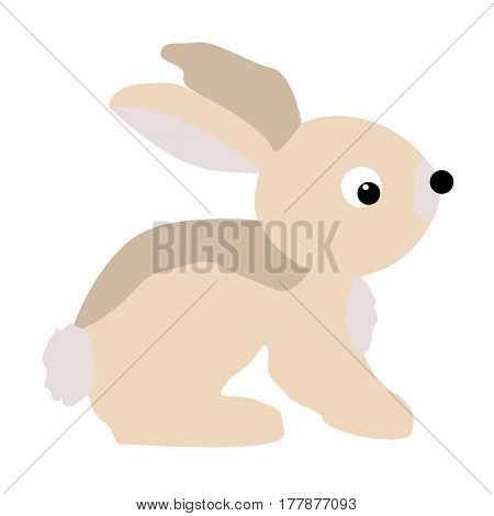 color icon baby Bunny rabbit in cartoon style on white background vector illustration. baby shower or arrival.