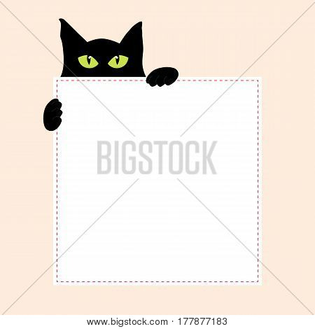square frame with funny black cat on a pink background. vector illustration