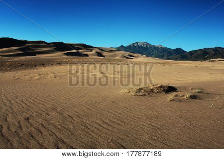 Desolate landscape of the Great Sand Dunes National Park near Alamosa, Colorado in spring