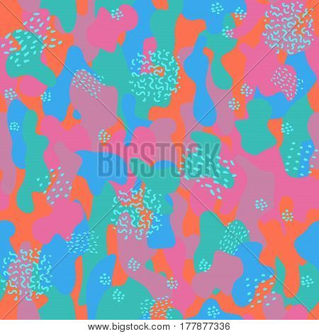 Camouflage seamless pattern. Colorful fashion trend. Bright abstract background.