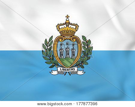 San Marino Waving Flag. San Marino National Flag Background Texture.