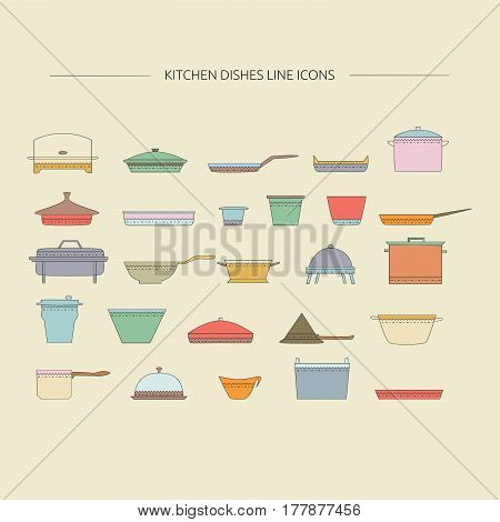 Kitchen dishes outline icons. Vector cooking elements collection.