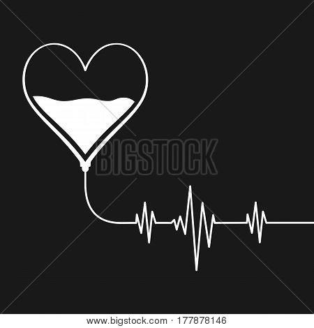 Heart Beat Full Of Blood. Donate Concept. Vector Illustration Eps 10.
